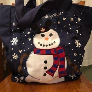 Disney Mickey Ears Snowman Tote Bag